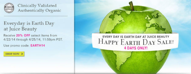 juice beaty earth day coupon for discount April 2014 save